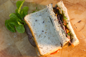 Roast Beef, Tomato, Red Capsicum, Snow Pea Sprouts,, Pesto & Hommus Photo by Maxwell Photography